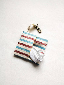 Taštičky - Puzdro na rúško, modro-hnedý pásik II. - 12215249_