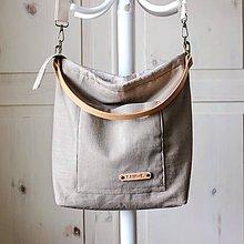 Veľké tašky - Veľká ľanová taška *sand* - 12216135_
