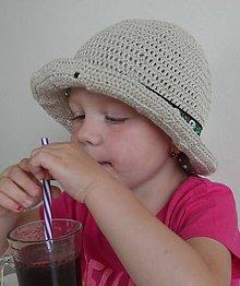 Detské čiapky - Háčkovaný klobúk s ľanom (Prírodný) - 12217669_