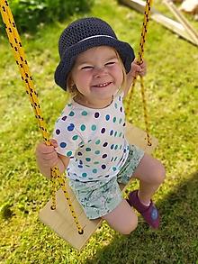 Detské čiapky - Háčkovaný klobúk s ľanom (Modrý) - 12217670_