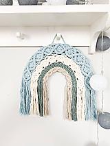 Dekorácie - Makramé dekorácia - veselá dúha modrá - 12214724_