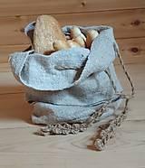 Úžitkový textil - ľanové vrecko na chlebík - 12215553_