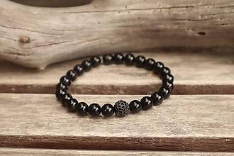 Šperky - Pánsky náramok z minerálu čierny turmalín - 12215805_