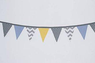 Dekorácie - 2m Girlanda 10-vlajková (sivo modro žltá) - 12220151_