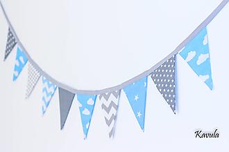 Dekorácie - 2m Girlanda 10-vlajková (modro sivá) - 12220195_