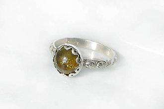 Prstene - prsteň s olivovým granátom v.50,5 / Ag 925 - 12220283_