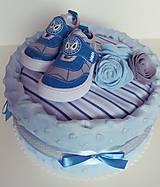 Detské doplnky - Plienková torta modré capačky - 12218176_