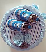 Detské doplnky - Plienková torta modré capačky - 12218188_