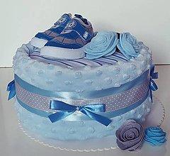 Detské doplnky - Plienková torta modré capačky - 12218173_