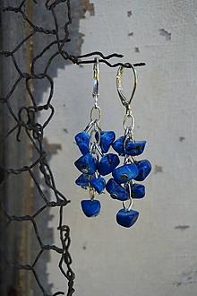 Náušnice - Zlomkové náušnice modré - 12219634_