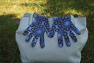 Rukavice - Úpletové rukavičky - Modrý kvet - 12220000_