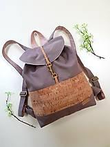 Batohy - Batoh Mia (100% bavlnený kanvas, dubový korok a ľan) - 12218404_