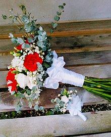 Kytice pre nevestu - Svadobná kytica a pierko pre ženícha - 12220272_