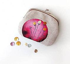 Taštičky - Peňaženka XL Tmavoružový kruh - 12218107_
