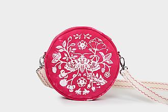 Kabelky - Kulatá s autorským tiskem - můra, růžová - 12221268_