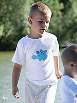 Detské oblečenie - tričko DINO - TYRKYSOVÝ -  STEGOSAURUS (dlhý/krátky rukáv) - 12221569_