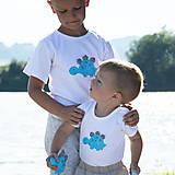 Detské oblečenie - tričko DINO - TYRKYSOVÝ -  STEGOSAURUS (dlhý/krátky rukáv) - 12221571_