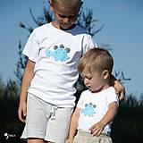 Detské oblečenie - tričko DINO - TYRKYSOVÝ -  STEGOSAURUS (dlhý/krátky rukáv) - 12221572_