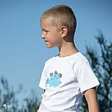 Detské oblečenie - tričko DINO - TYRKYSOVÝ -  STEGOSAURUS (dlhý/krátky rukáv) - 12221573_