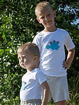 Detské oblečenie - tričko DINO - TYRKYSOVÝ -  STEGOSAURUS (dlhý/krátky rukáv) - 12221574_