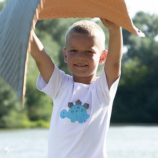 tričko DINO - TYRKYSOVÝ -  STEGOSAURUS (dlhý/krátky rukáv)