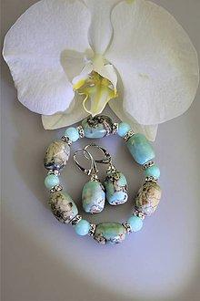 Sady šperkov - achát a jadeit náramok,náušnice súprava - 12220445_