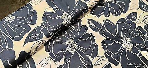 Textil - bavlna - veľké kvety - 12222498_