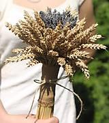 Kytice pre nevestu - Jednoduchá svadobná levanduľová kytica s obilím - 12220497_
