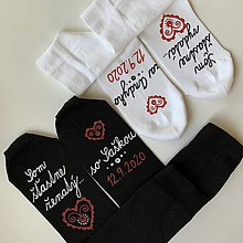 """Obuv - Maľované ponožky s nápisom: """"Môj manžel (Moja manželka) je šťastne ženatý (vydatá)"""" (biele + tmavomodré s menami a dátumom) - 12220696_"""