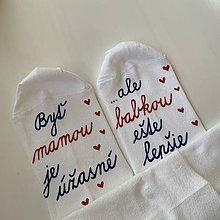 Obuv - Maľované ponožky pre šťastnú mamu a babku (so srdiečkami) - 12220716_
