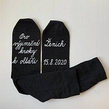 Obuv - Maľované ponožky pre (ženícha (bielym písaným)) - 12220725_