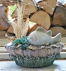 Dekorácie - Prírodná dekorácia s rybkou - 12223187_