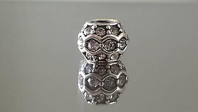 Korálky - Rondelka štrasová na náramok PANDORA  (10x8mm - Priehľadná) - 12223072_