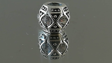 Korálky - Rondelka štrasová na náramok PANDORA  (11x9mm - Priehľadná) - 12223091_