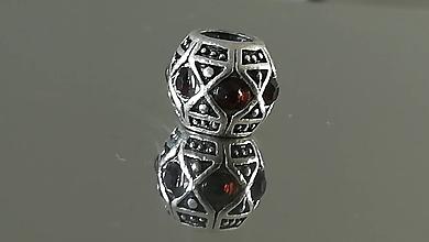Korálky - Rondelka štrasová na náramok PANDORA  (11x9mm - Hnedá) - 12223108_