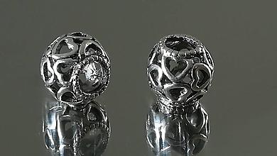 Korálky - Ozdobná kovová korálka a la PANDORA  (11x10mm - Strieborná) - 12223237_