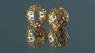 Korálky - Ozdobná kovová korálka a la PANDORA  (11x9mm - Zlatá) - 12223340_