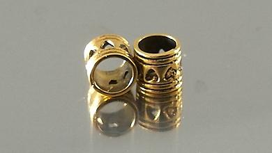 Korálky - Ozdobná kovová korálka a la PANDORA  (7x7mm - Zlatá) - 12223356_
