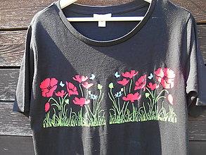 Tričká - Maky makové-tričko -ručne maľované - 12224757_