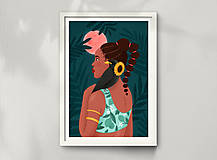 Grafika - Africká princezna - umělecký tisk, A4 - 12227194_