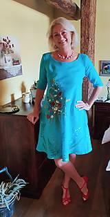 """Šaty - Ľanové maľované šaty """"Lúčna kytica II. """" - 12224821_"""