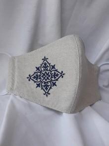 Rúška - Rúško 2-vrstvové s výšivkou folk-tmavo modrá - 12224803_