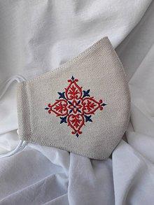 Rúška - Rúško 2-vrstvové s výšivkou folk-červeno modrá - 12224819_