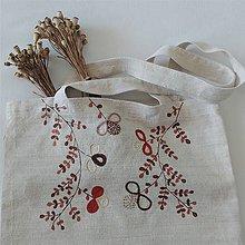 Nákupné tašky - Ľanová nákupná taška - hnedobéžové kvety - 12226601_