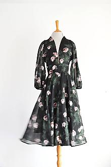 Šaty - Kvetované šaty z hodvábno-bavlneného voálu - 12224938_