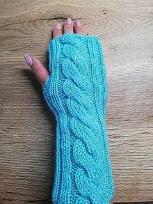 Rukavice - Bezprstové rukavičky -tyrkysové - 12226794_