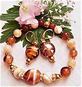 Sady šperkov - Unikátne kúsky lampwork, perleť , achát - 12229641_