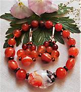 Sady šperkov - Unikátne kúsky- lampwork- karneol - 12229677_