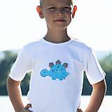 Detské oblečenie - tričko DINO - TYRKYSOVÝ -  STEGOSAURUS (dlhý/krátky rukáv) - 12228985_