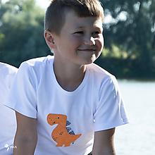Detské oblečenie - tričko DINO - ORANŽOVÝ -  TYRANOSAURUS (dlhý/krátky rukáv) - 12228486_
